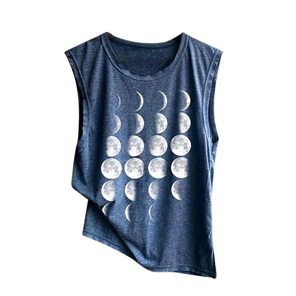 Kalinyer Womens Loose Fit Tee Tank Top, Sleeveless Flowy Yoga Workout Crop T-Shirt Sleeveless Printed Funny Tank Shirt Navy