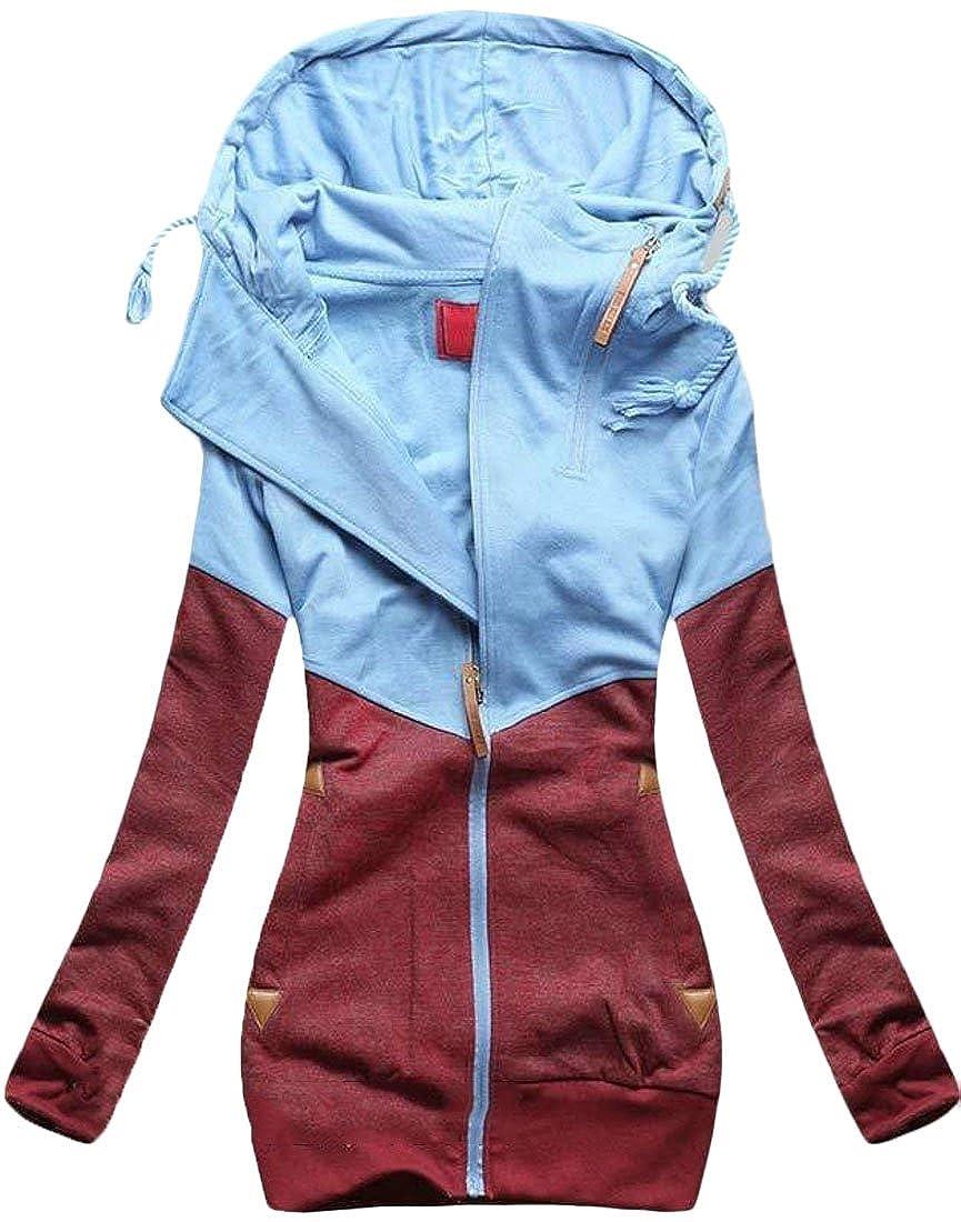 XTX Women Plus Size Fleece Color Block Full Zip Hoodie Hooded Sweatshirt Coat Jacket
