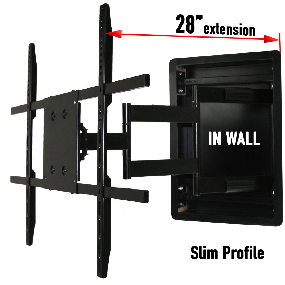 In Wall TV Mount, Recessed Articulating In Wall TV Mount for 42 to 70 Inch TVs LCD, LED, or Plasma - Extends 28 Inches