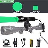 Ulako Green Light 300 Yards Spotlight Flood Light Zoomable Tactical Hunting Flashlight Torch for Hog Pig Coyote Varmint Predator Rifle