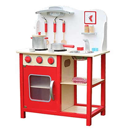 Amazon.com: Wood Kitchen Toy Kids Cooking Pretend Play Set ...