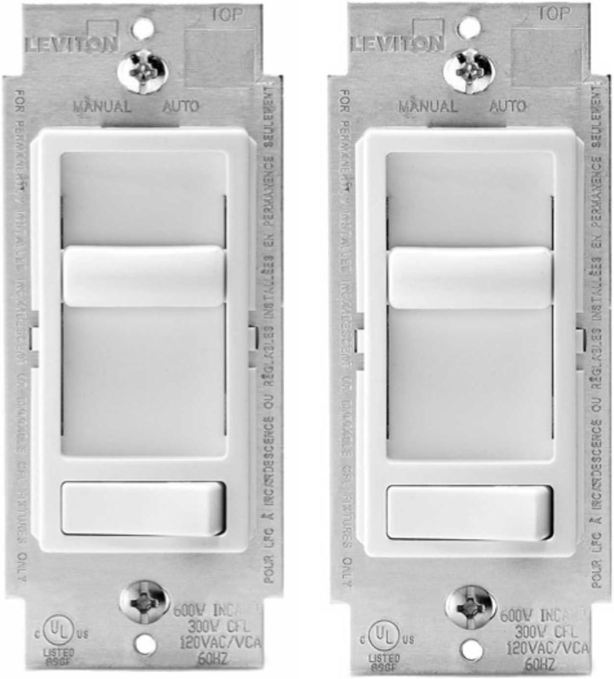 Leviton 6674-P0W SureSlide Universal 150-Watt LED and CFL/600-Watt Incandescent Dimmer, White (2 Pack) - -
