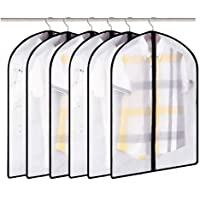 """6 Pieces Garment Bag Waterproof Clothes Cover Breathable with Black Side Full Zipper 24""""x40"""" Transparent"""