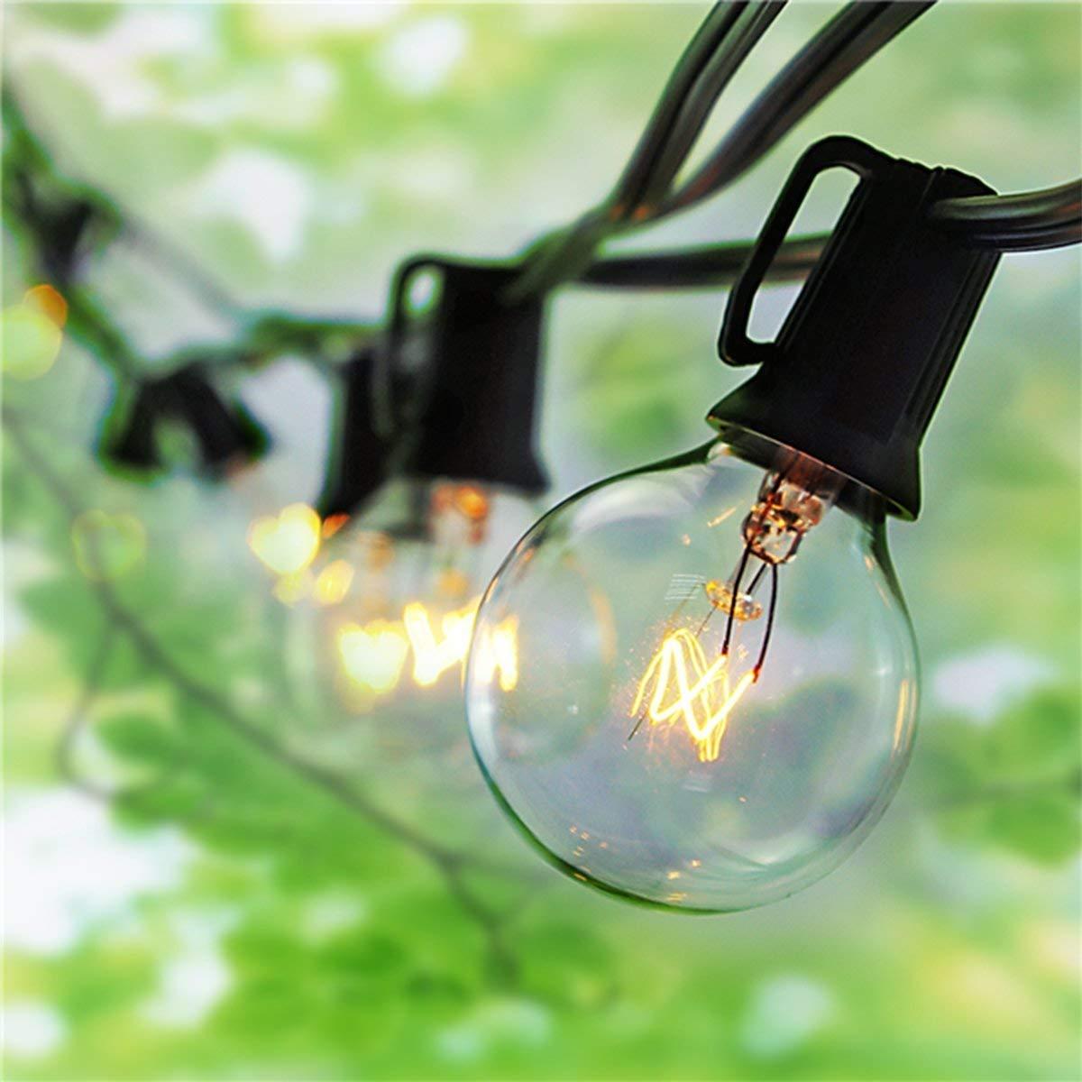 SkrLights 100 Foot String Lights Outdoor Lighting Garden Fairy Backyard Market Xmas Holiday Patio Party Globe String Lights G40 100 Clear Bulbs-Black Wire