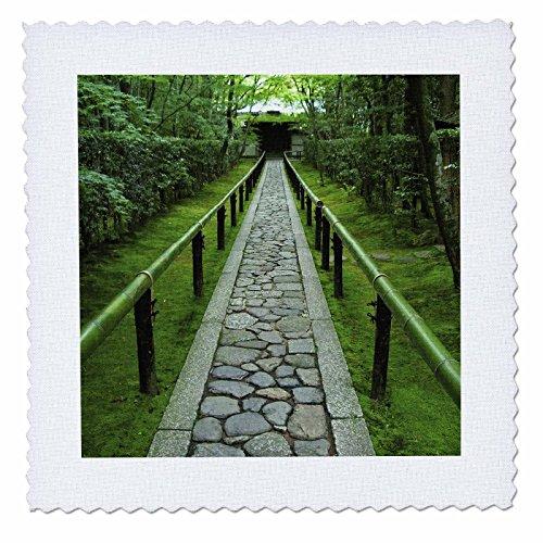 3dRose qs_72737_3 Zen Garden Path, Kyoto, Japan-As15 Ste0081-Shin Terada-Quilt Square, 8 by 8-Inch