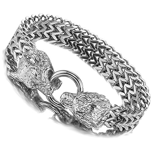Jxlepe Wolf Bracelet Curb Cuban Chain Silver White Stainless Steel Franco Link Awesome Cool Bangle Gift for Men 9 inch (Silver)