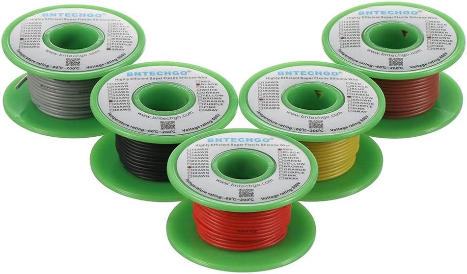 BNTECHGO 24 Gauge Silicone Wire Kit Red Black Yellow Brown and Gray Each 30ft 24 AWG Stranded Wire