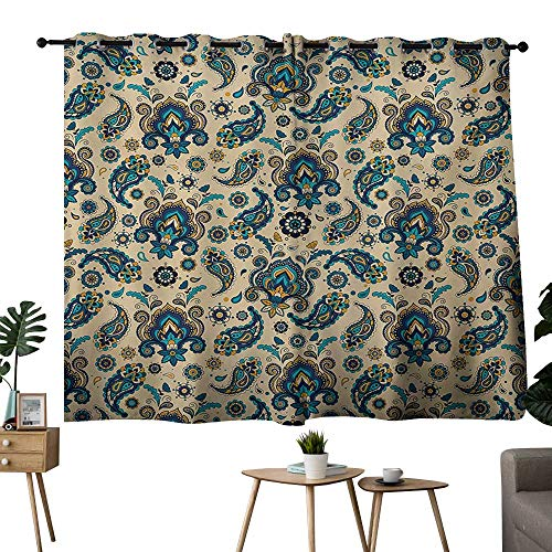 NUOMANAN Bedroom Curtain Paisley,Colorful Vintage Floral Design Pattern with Oriental Paisley Retro Design,Yellow Blue Cream,Blackout Draperies for Bedroom 52