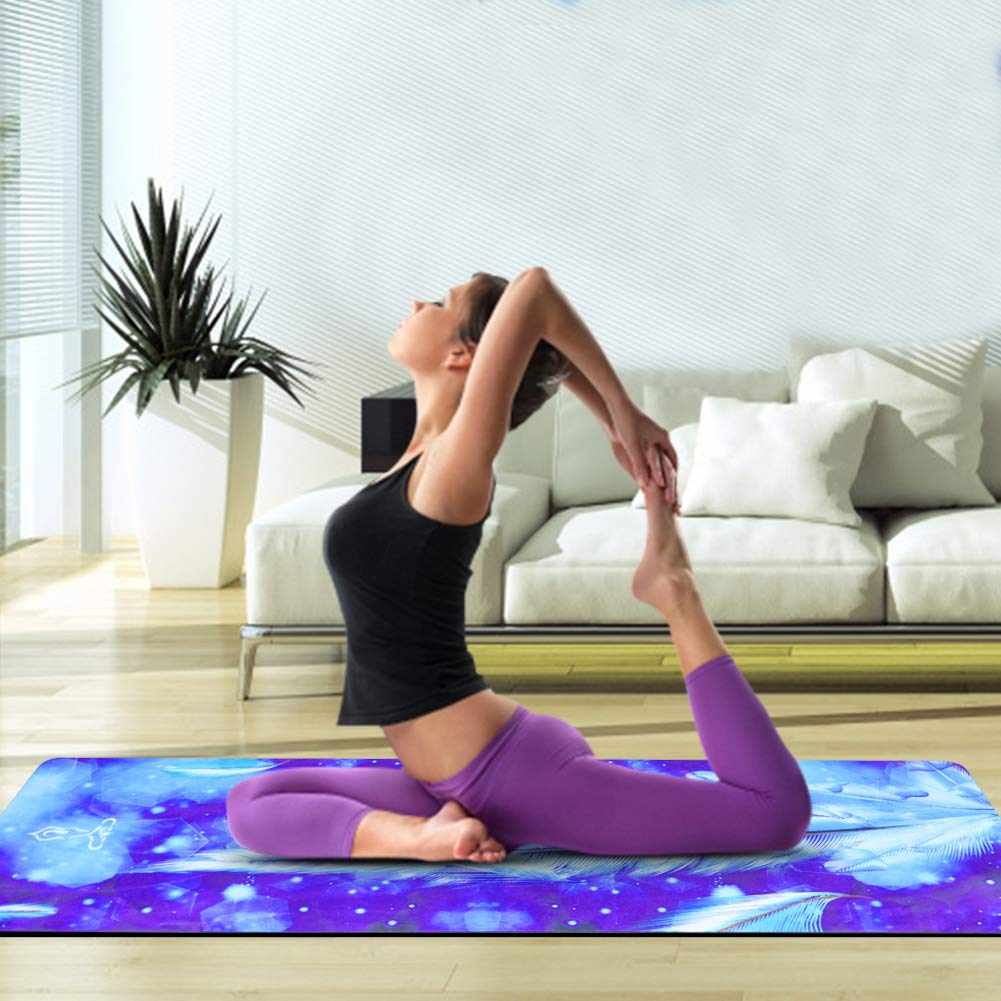 Jodream Natural Rubber Eco-Friendly 5mm Thick Yoga Mat, Non-Slip Premium Microfiber Top with Artistic Design, High Density, Non-Toxic, Oxford Mat Bag ...