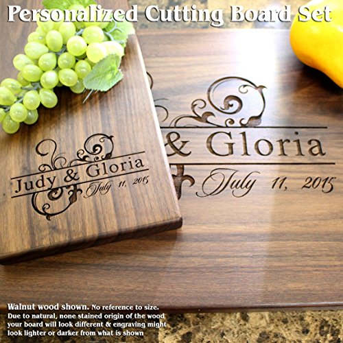Ornamental Design Personalized Engraved Cutting Board Set- Wedding Gift, Anniversary Gifts, Housewarming Gift,Birthday Gift, Corporate Gift, Award, Promotion. #206