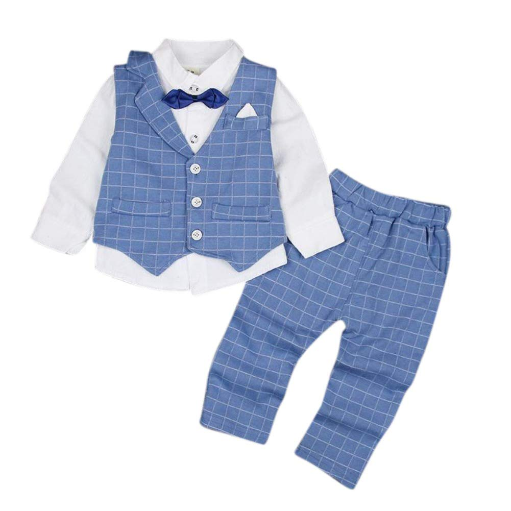 Baby Boy Gentleman Suit Party Formal Clothes Set Long Sleeve Polo Shirt+Lattic Pant+Waistcoat 3 Pieces Outfit