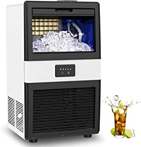 LIFEPLUS Commercial Ice Maker Machine, 70lbs/24h Ice Cube Maker with 17LBS Ice Storage Capacity, Free-Standing Ice Cube Machine for Bar, Home, Office, Restaurant, Coffee Shop.