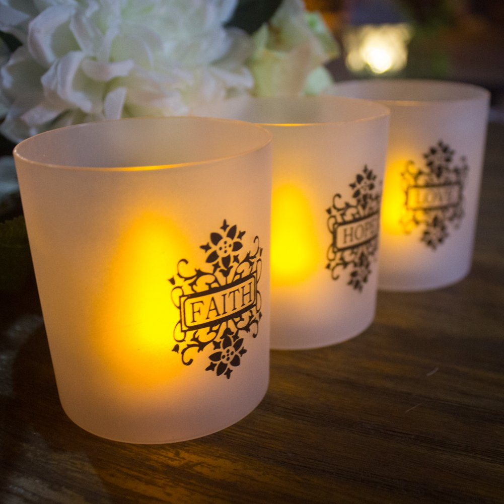 FAITH HOPE LOVE Frosted Plastic Glass Candle Votive Holders - Warm Yellow Flickering Powered By Battery,Wedding Party Chrismas Halloween Dining Table Home Decorations Set of 6 by LOGUIDE (Image #2)