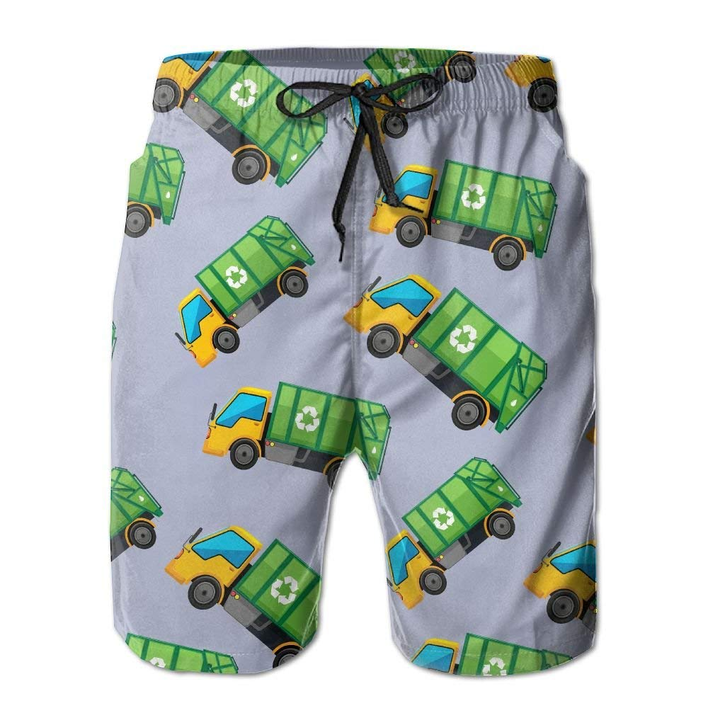 CCGGJPYI Cartoon Garbage Truck Mens Quick Dry Athletic Boardshorts Swimming Shorts with Pocket