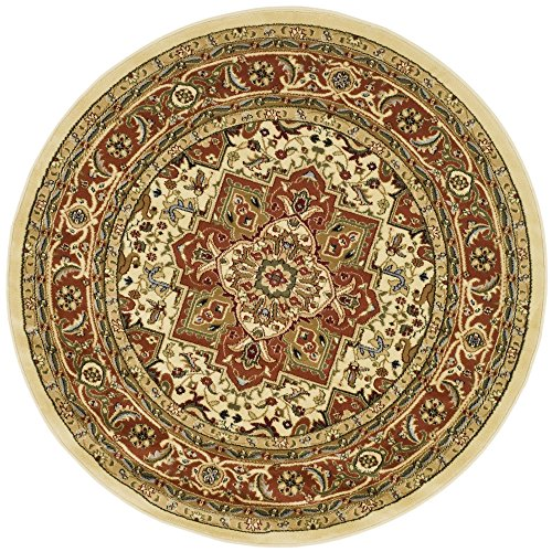 Safavieh Lyndhurst Collection LNH330R Traditional Oriental Medallion Ivory and Rust Round Area Rug (8' Diameter) Rust 8' Round Area Rug