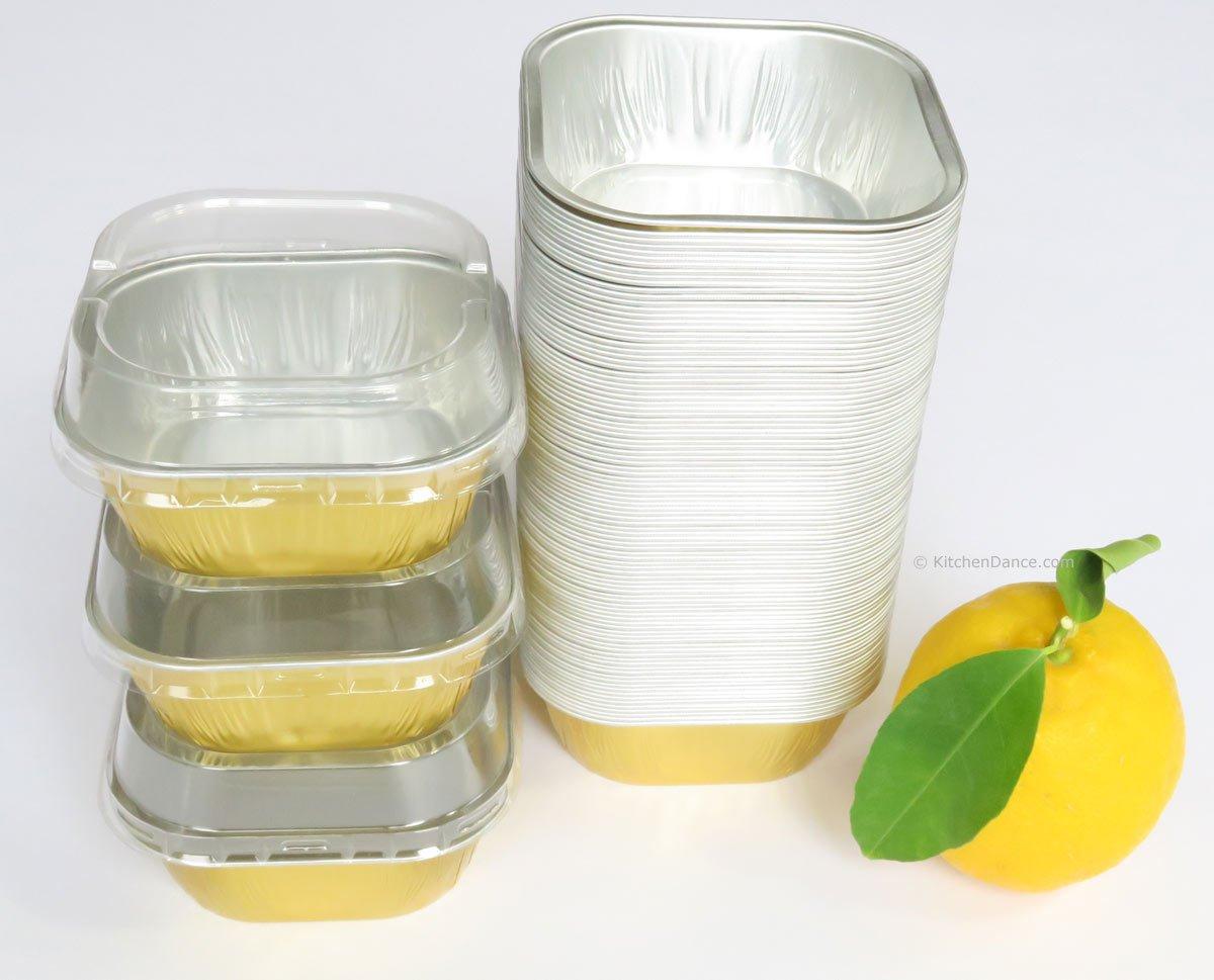 KitchenDance Disposable Aluminum 4'' x 4'' Square 8 ounce Dessert Pans W/ Lids - #ALU6P (GOLD, 500) by KitchenDance (Image #3)