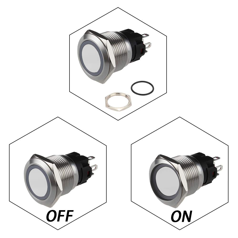 Senzeal Latching Push Button Switch U19C1 1NO1NC SPDT ON//Off Stainless Steel with 12V 3A Orange LED Suitable for 19mm//0.75 Mounting Hole