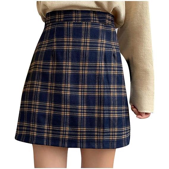 Sylar Faldas Cortas Mujer Falda a-línea de Cuadros Falda Plisada ...
