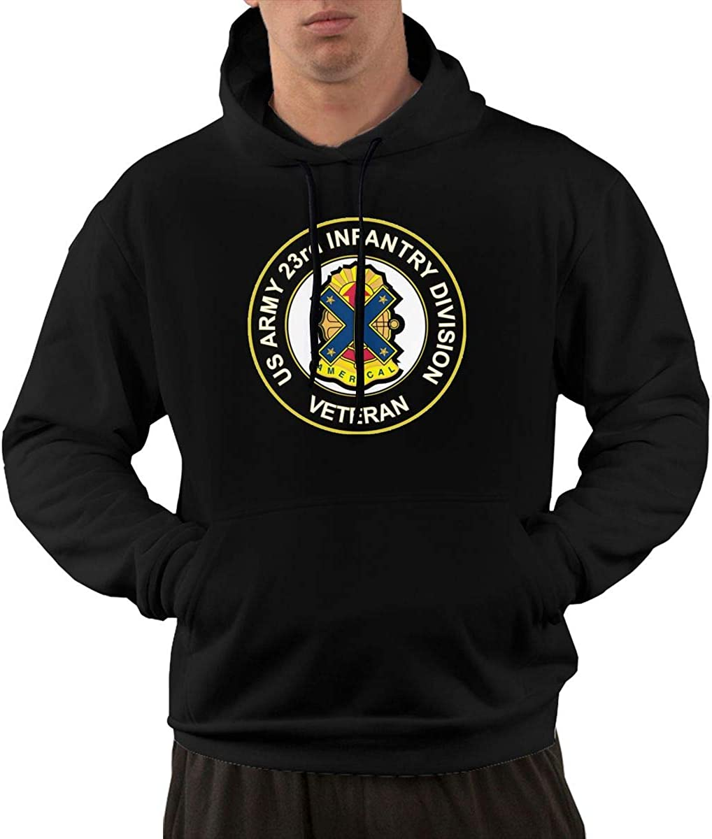U.S Army Veteran 23rd Infantry Division Unit Crest Mens Front Pocket Pullover Cotton Hoodie Sweatshirts