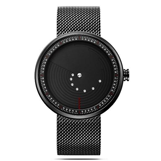 Relojes Deportivos Creativos Negros para Hombre Reloj de Cuarzo Minimalista Reloj: Amazon.es: Relojes