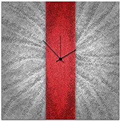 Modern Wall Clock 'Red Stripe Clock' by Nicholas Yust - Contemporary Decor Large Abstract Clocks on Metal