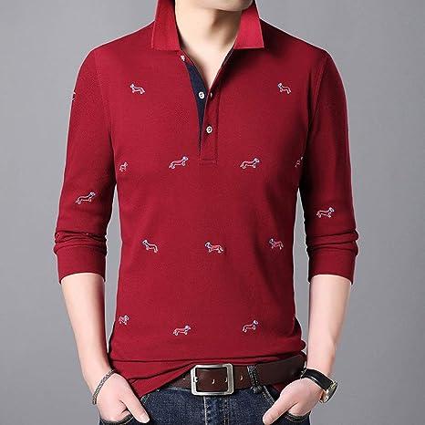 MTCDBD Polo Shirts Manga Larga,Hombres Camiseta Impresa Slim Rojo ...