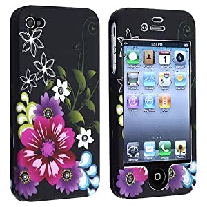 eForCity Snap-on Rubber Coated Case Compatible with Apple® iPhone ® 4 / 4S, Rose Red / Purple Flower