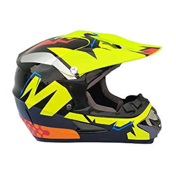 Amarillo M Casco Motocross Integrales BMX/MTV/Cross Country, Moto Cascos de Motocross