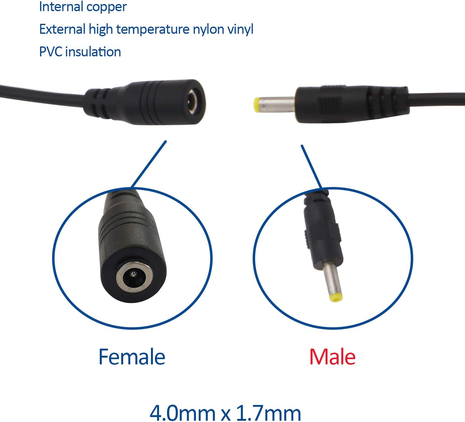 Njuone 5 Pairs DC Line DC 4.0 1.7 Power Line DC 4.0mm x 1.7mm Public Plug Line DC Extension Line DC Power Pigtail Cable 4.0mm x 1.7mm Male and Female DC Power Plug Connector Plug Pigtail