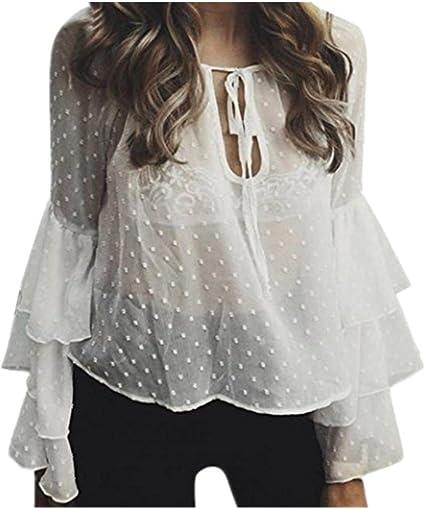 Tops mujeres, yanhoo mujeres tela de chifón de seda Tops de verano ropa damas chicas Ruffle playa camisa mujer encaje hasta camisa de manga larga blusa Camisa Blusa Camiseta Chaleco playa camisas: