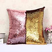 LEIZENG Sequins Pillow Case Mermaid Two-Color Bright Piece Pillow G