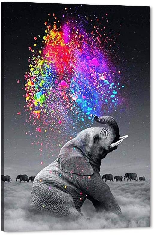 Impressed Animal Giclee Canvas Poster Print Panitings Wall Art Modern Home Wall Decor Artwork Abstract Colourful Elephant Painting for Living Room Kitchen Classroom Streched Ready to Hang-24