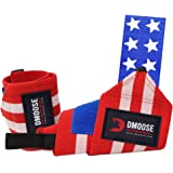 DMoose Wrist Wraps for Weightlifting 12 and 18 Inches Thumb Loops with Wrist Support for Workouts Powerlifting Wrist Straps f