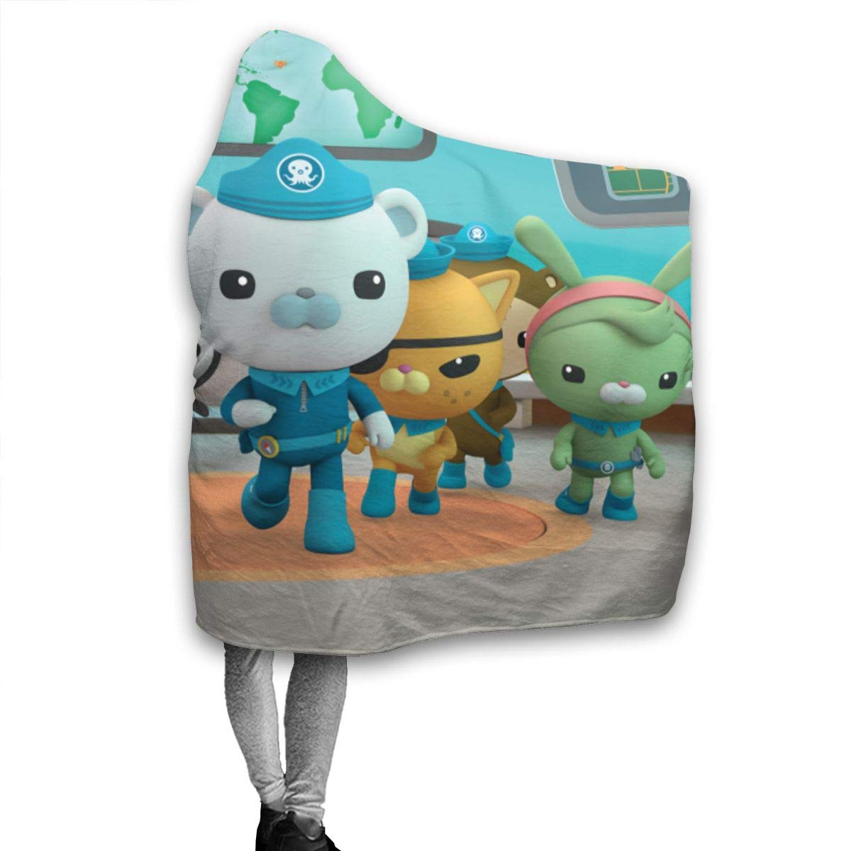Soft Cloak Shawl Wrap 50 x 40 Inch Camping Fall Wearable Blankets for Boys Girls Cartoon Octonauts Captain Barnacles Bear Diving Poster Hooded Blankets for Daycare