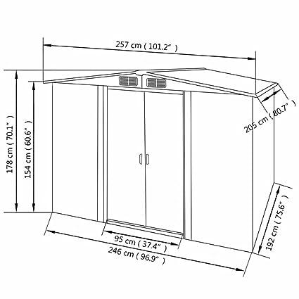 Vislone Caseta Jardín Exterior de Acero Galvanizado con 4 Rejillas de Ventilación 257x205x178cm: Amazon.es: Jardín