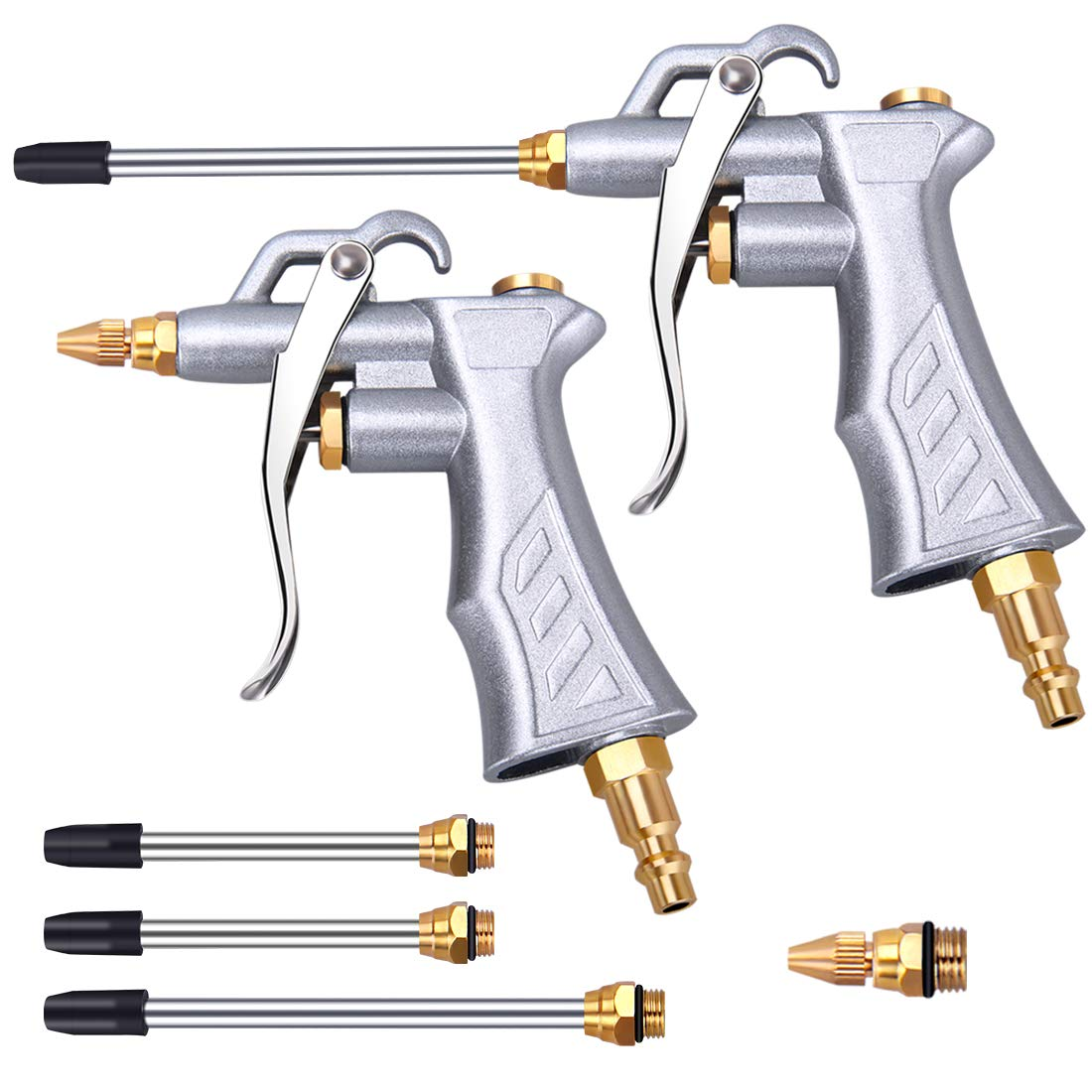 Industrial Air Blow Gun with Brass Adjustable Air Flow Nozzle and 2 Steel Air flow Extension, Pneumatic Air Compressor Accessory Tool Dust Cleaning Air Blower Gun-2 Pack
