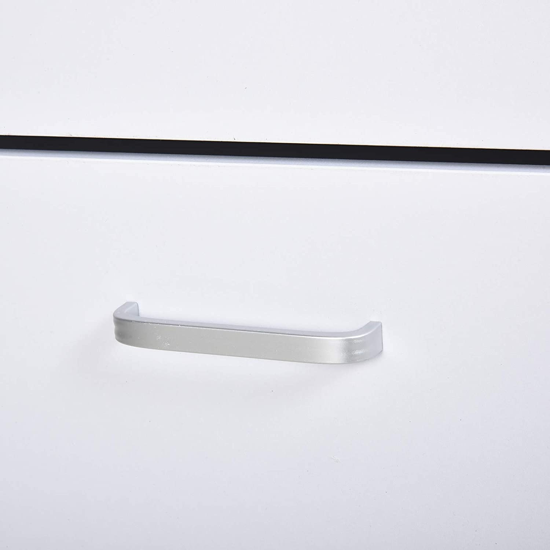 HOMCOM Organizador de Zapatos Multifuncional Zapatero con 3 Cajones Estante de Vidrio Asa de Aluminio para Pasillo Tablero de Part/ículas Carga 50 kg 60x24x105,5 cm Blanco