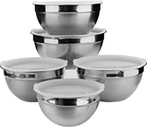 Mixing Bowls, Stainless Steel Mixing Bowls Set of 5 with Lids for Kitchen, Nesting Metal Bowls for Baking Cooking Serving Prepping Food Storage, Salad Bowls - 4, 3, 2.5, 2, 1.5 QT(White)