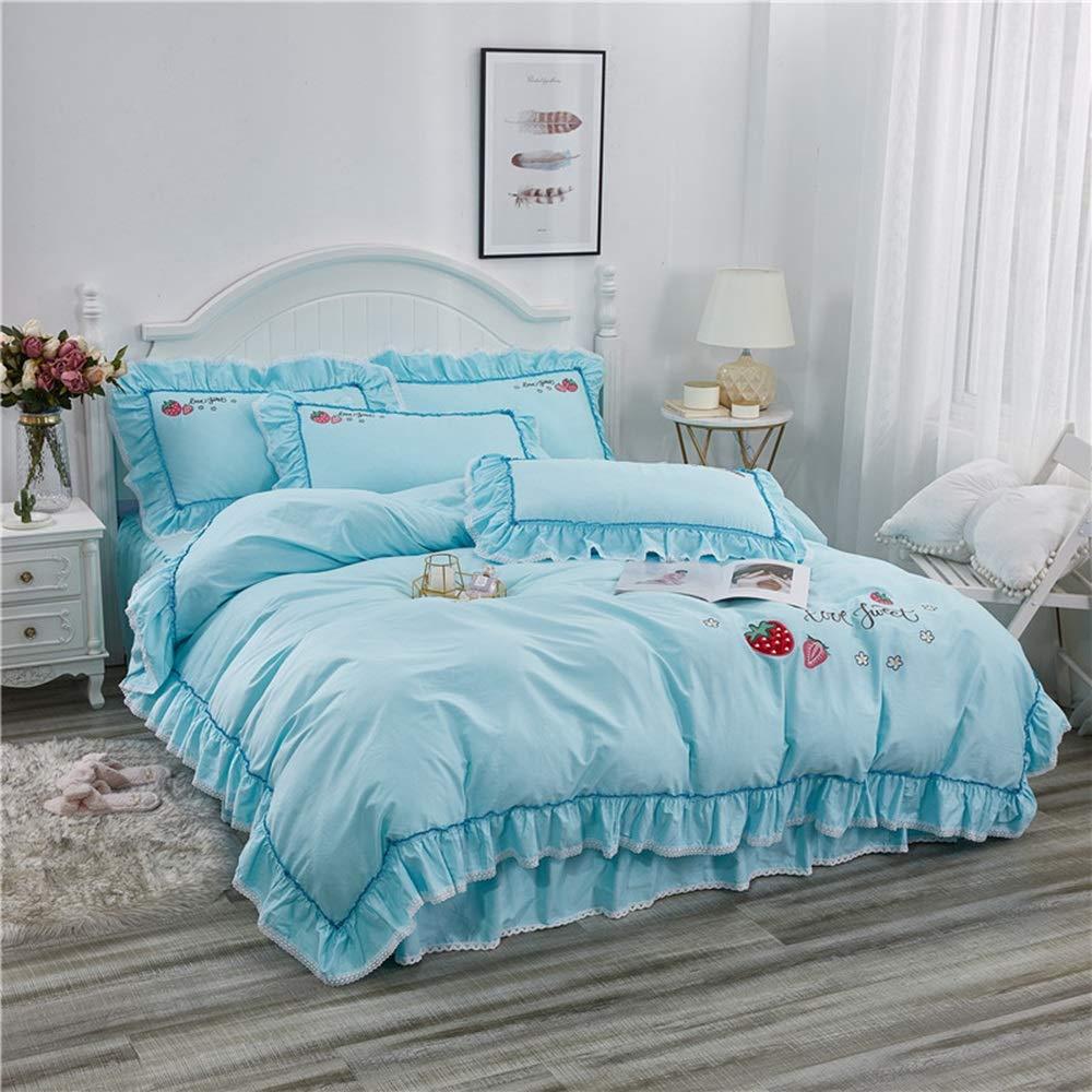 CSYP 綿の刺繍4ピースセットの女の子のベッドセット綿の王女の風のベッドのスカートの寝具セット (Color : Blue, Size : S) B07Q576RY5