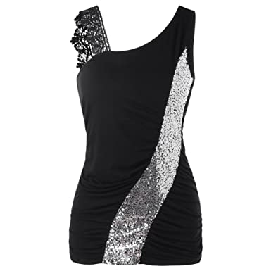 560ed5f675d8 Snowfoller Womens Lace Sequined Vest Tops Fashion Lace One Shoulder Skew  Collar Sequined Sleeveless Tank Tops