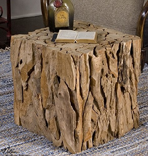 """Diva At Home 18.5"""" Eco-Friendly Natural Teak Root Bunching Cube Accent Table"""