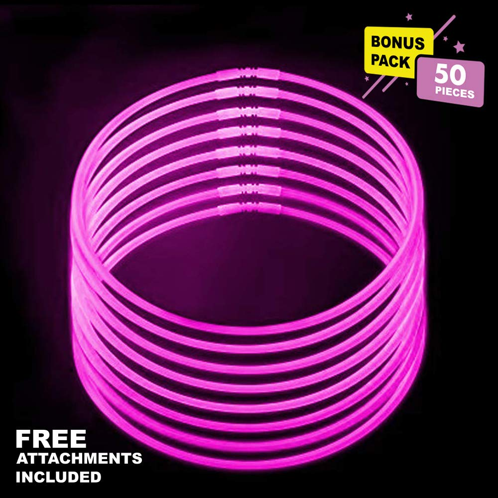 Lumistick 20 Inch Glowstick Necklace with Connectors | Kid Safe & Non-Toxic Neckwear | Great for Parties, Weddings, Halloween & Christmas with Glows up to 12 Hours (Pink, 50 Glow Sticks)