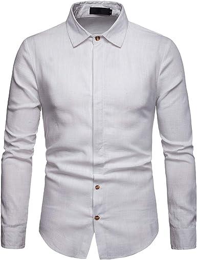 Allthemen - Camisa casual - Button Down - Cuello abuelo - para hombre