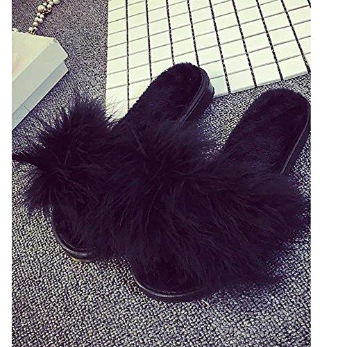 La Sandales Les Lhwy Femme Mode Peluches Non Femmes Noir Flip pantoufles Chausson 4 Flop slip Fourrure Faux Moelleuses Chaussons À Plates By rSXqa