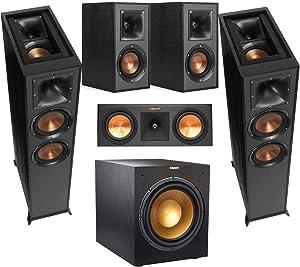 Klipsch Home Theater Bundle with 2 R-625FA Dolby Atmos Floor Standing Speaker, RP-250C 2-Way 500W Center Channel, 2 R-41M Bookshelf Speaker, R-12SWi 400W Wireless Subwoofer, Ebony/Black