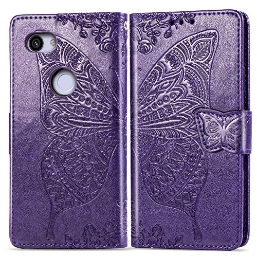 Aslim Pixel 3a Wallet Case,Pixel 3 Lite Case,Pixel 3a ThinQ PU Leather Case Flip Case 3D Floral Butterfly Embossed Purse Kickstand Cover Card Holders Hand Strap for Google Pixel 3a Purple
