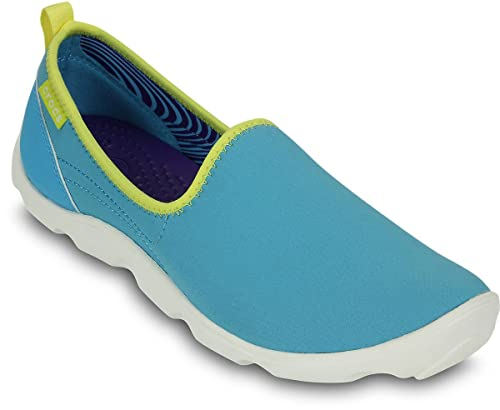 6546bed67ecfa6 crocs Women s Duet Busy Day Skimmer Electric Blue and White Rubber Sneakers  - W4