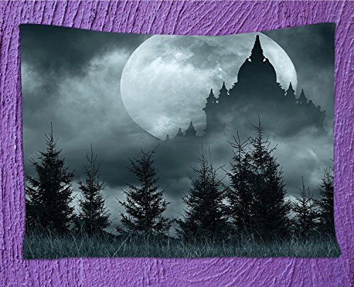 SeptSonne Halloween Tapestry by, Magic Castle Silhouette over Full Moon Night Fantasy Landscape Scary Forest,Wall Hanging for Bedroom Living Room Dorm,82.7Wx59.1L INCH,Grey Pale (Fantasia Halloween Sp)