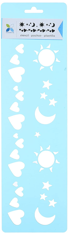 Momenta Herzen Sonne Mond Sterne Schablone Mehrfarbig 6 4-Zoll x 35,6/cm Acryl