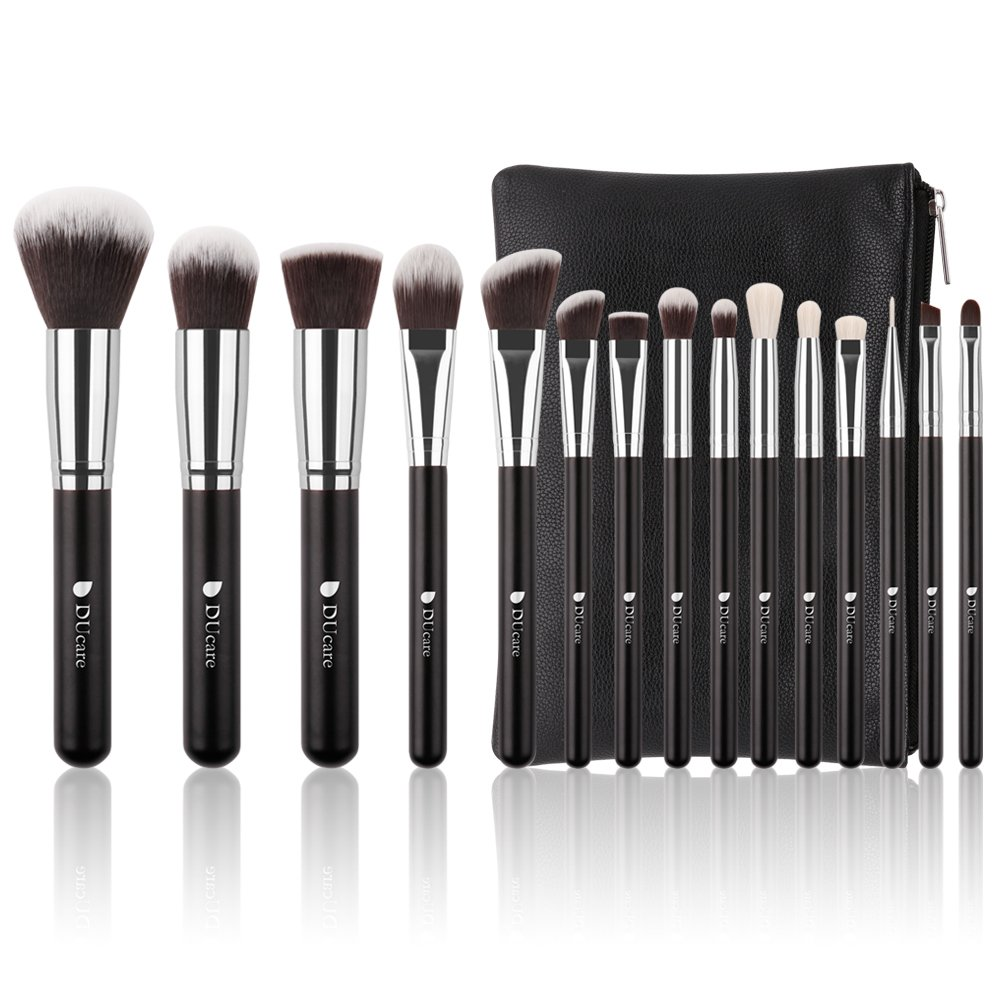 DUcare Makeup Brush Set 15 Pcs Black with with Cosmetic Bag and Gift Box Premium Foundation Blending Blush Makeup Brushes Doremi Beauty
